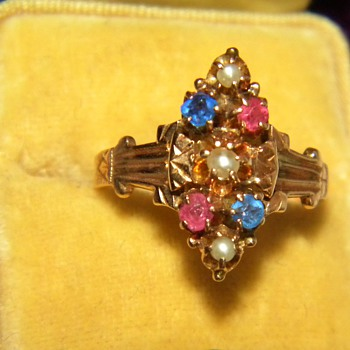 Antique Victorian Pink Blue Sapphire Seed Pearl 12k Ring England - Fine Jewelry