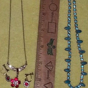 Red & Blue Necklace & Earring Sets