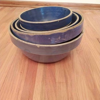 Blue Stoneware Bowl Set - Pottery