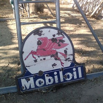 vintage double sided porcelain pegasus mobil oil sign - Signs