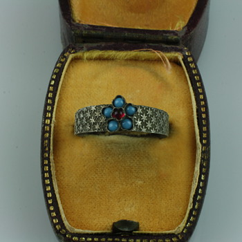 Late victorian silver forget me not ring  - Fine Jewelry