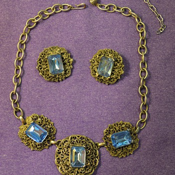 Blue Jeweled Necklace and Earrings from my Great-Grandma - Costume Jewelry