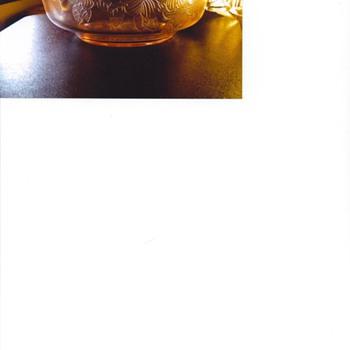 10inch rare dogwood pink depression bowl, sugar creamer, 2 fruit dishes - Glassware