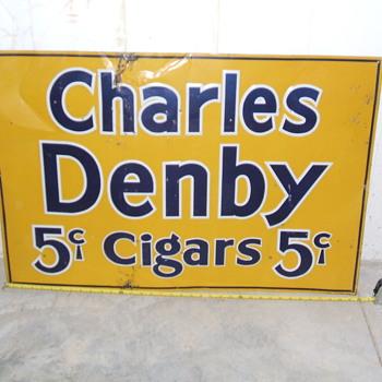 2'x3' tin 5 cent cigar sign - Signs