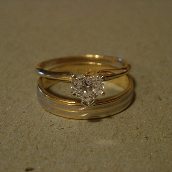 18KT and Platinum Ring, 14KT Heart Diamond Solitaire
