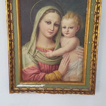 Oil Painting:  Mary and Baby Jesus - Signed: Da Luini, F.M.M. Roma, 1967.   Recognize this artist? - Fine Art