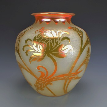 STEUBEN GOLD AURENE OVER ALABASTER VASE - Art Glass