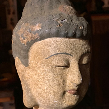 Very Old Wooden Polychromed Head of Buddha, Quanyin, or a Bodhisattva - Asian