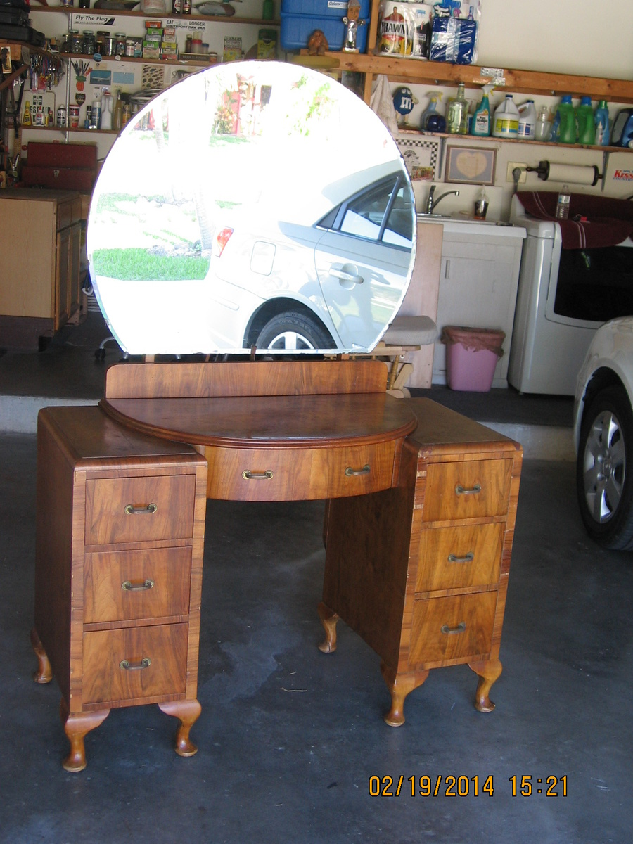 Antique vanity with round mirror Collectors Weekly