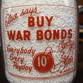 """BORDENS """"ELSIE THE COW"""" WAR SLOGAN MILK BOTTLE........... - Bottles"""