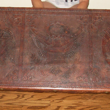 antique hand carved leather topped table
