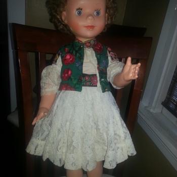 Old Doll in Original European? Dress - Dolls