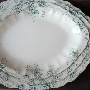 Three Ironstone Nesting Platters...breathtaking green flowers. Is this Limoges? Unmarked  - China and Dinnerware