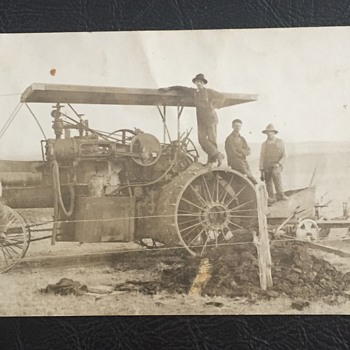 Antique RPPC Large Steam Engine Farm Tractor and Plow - Photographs