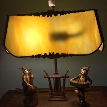 Bronze and Stained Glass Lamp with Musicians - Lamps