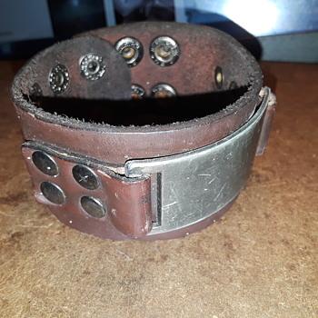 men's brown leather snap cuff (ID?) bracelet - Costume Jewelry