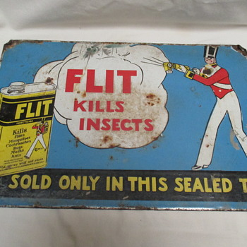 Vintage Flit kilss insects enamel sign end 1920s  - Advertising