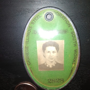 old CARNEGIE STEEL employee ID badge - Advertising