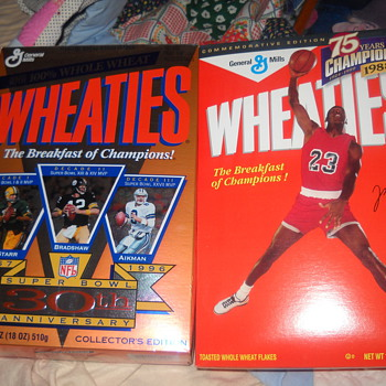 30th Anniversary Super Bowl Wheaties box, Michael Jordan reproduction of the 1988 box and a Mark McGwire mini box