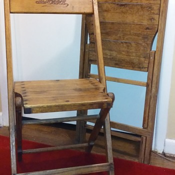 my pair of old DOWD (FOWLER) oak folding chairs  - Furniture