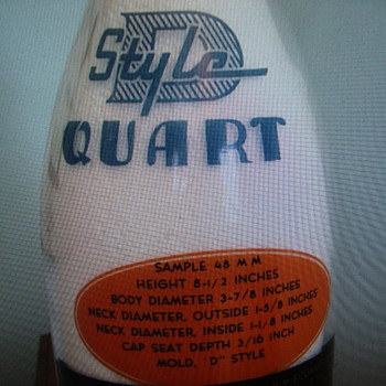 "THATCHER ""STYLE D"" QUART SALESMAN SAMPLE MILK BOTTLE - Bottles"