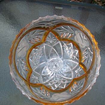GLASS  CANDY DISH WITH  YELLOW GLASS - Glassware