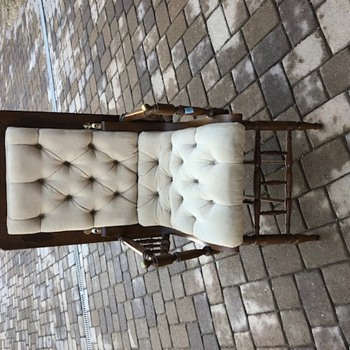 Antique tufted chair with a desk back - Furniture