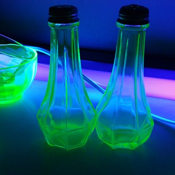Uranium glass salt and pepper shakers
