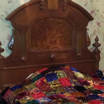 Antique Walnut Bed Frame - Eastlake Fullsize 19th Century - Furniture