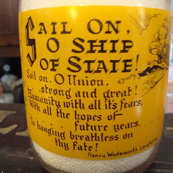 Sail On O Ship Of State milk bottle....
