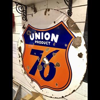 Unique Union 76 Porcelain Sign - Signs