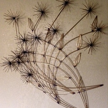 Curtis Jere Brass Pom Pom Wall Flowers 1980
