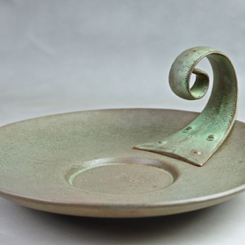 Unusual Handled Pottery Plate - Pottery