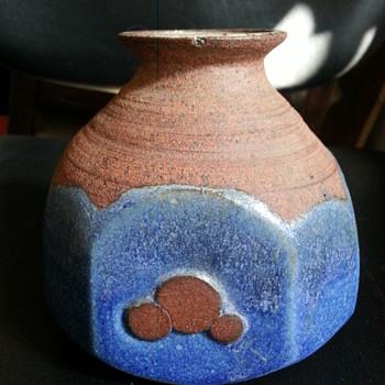 STONEWARE BLUE GLAZED JAR SIGN KMJ? - Pottery
