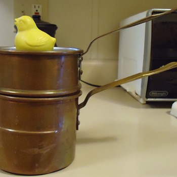 Eggs! Soft, Medium, or Hard 1932 Copper singing chick!  Pot!! - Kitchen