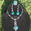 Vintage Victorian Sterling Silver Necklace Set w/ green stone