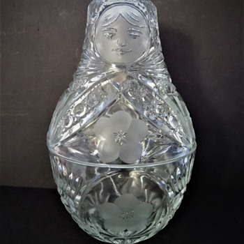 Pressed Glass Russian Doll Shaped Candy Bowl - Glassware