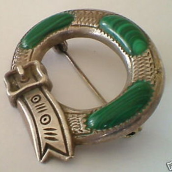 Antique Victorian Silver Malachite buckle brooch - Fine Jewelry