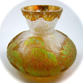 Kralik Enameled Oil Spot Cameo Vase, ca. 1900 - Art Glass