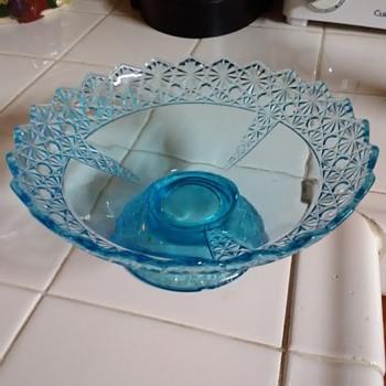 Aqua blue pedestal bowl - Glassware