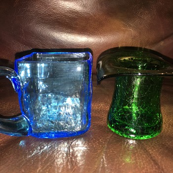 2 Colorful Samples of Crackle Art Glass Cup & Hat - Art Glass