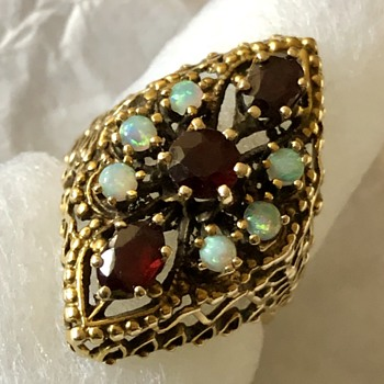 Garnet and Opal 14k Gold Ring - Fine Jewelry
