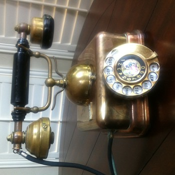 Brass Telephone with Picture Inlay - Telephones