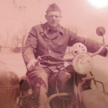My dad during WWII  - Motorcycles