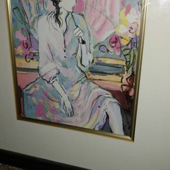 A beautiful unsigned Gouache painting has a gallery stamp on back - Fine Art