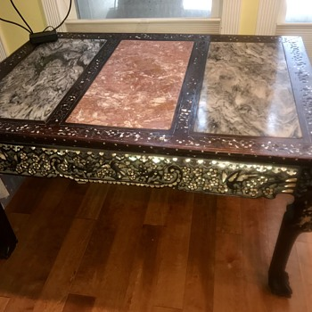 Wood & Marble Mother of pearl table  - Asian