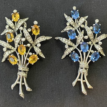 Trifari Sterling Rhinestone Brooches In Two Colors - Costume Jewelry