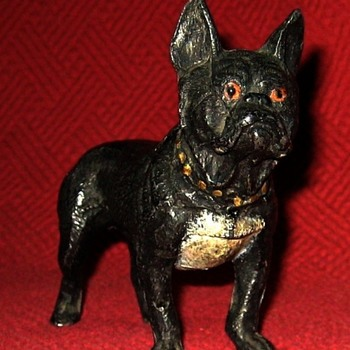 Vintage Cold Painted Spelter French Bulldog - Animals