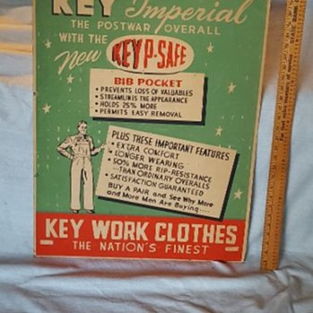 Key Imperial The Postwar Overall Advertisement (cardboard) - Advertising