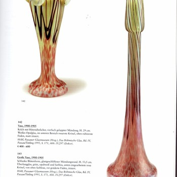 PALLME KOENIG VASES: PINK FLASHED GOLD PAPILLON. - Art Glass